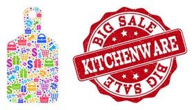 Состав Kitchenware мозаики и печати дистресса для продаж иллюстрация штока