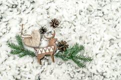 Состав ` s Нового Года необыкновенный на снеге Предпосылка рождества для представления работы или текста Стоковая Фотография RF