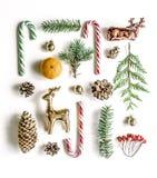 Состав ` s Нового Года необыкновенный с елевыми ветвями, помадками, мандарином, конусами и оленями золота Стоковые Изображения RF