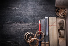 Состав shavings planer зубил деревянных Стоковые Фотографии RF