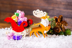 Состав wi северного оленя украшения рождества и саней Санты Стоковое фото RF