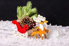 Состав wi северного оленя украшения рождества и саней Санты Стоковое Изображение