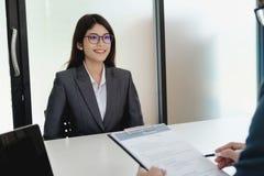 Состояние бизнеса, концепция собеседования для приема на работу Стоковое фото RF