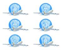состояние иконы полета установленное Стоковое фото RF
