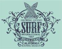 Состязание винтажного longboard Калифорнии занимаясь серфингом Стоковое Фото