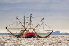 Сосуд резца рыбной ловли креветки на море Wadden Стоковые Изображения RF