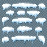 Сосульки снега установили на прозрачное иллюстрация вектора