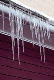 Сосульки на крыше Холодная сцена погоды зимы Темная фиолетовая деревянная предпосылка Стоковые Изображения RF