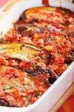 Сотейник баклажана и томатов Стоковое Изображение
