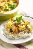 Сотейник куриной грудки и цветной капусты с рисом Стоковые Изображения