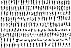 сотниы s silhouettes женщины Стоковые Фотографии RF
