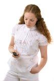 сотовый телефон довольно Стоковые Изображения RF