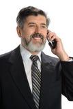 сотовый телефон бизнесмена используя Стоковое фото RF