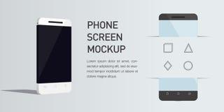 Сотовый телефон иллюстрации 3d вектора minimalistic равновеликий Взгляд перспективы Стоковая Фотография