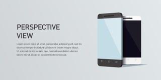 Сотовый телефон иллюстрации 3d вектора minimalistic равновеликий Взгляд перспективы Стоковое Фото
