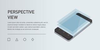 Сотовый телефон иллюстрации 3d вектора minimalistic равновеликий Взгляд перспективы Стоковое Изображение RF