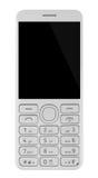 Сотовый телефон при кнопочная панель изолированная на белой предпосылке Стоковые Фото