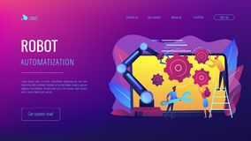 Сотрудническая страница посадки концепции робототехники бесплатная иллюстрация