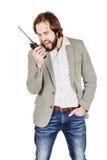 Сотрудник охраны связывая через его звуковое кино walkie Стоковое фото RF