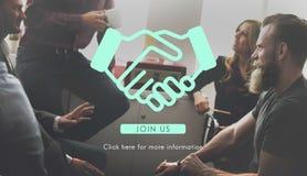 Сотрудничество Concep согласования дела корпоративного бизнеса рукопожатия стоковое изображение rf