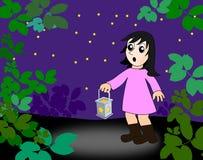 Сотрясенная девушка с фонариком Стоковое фото RF