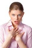 Сотрясенная женщина стоковые фотографии rf