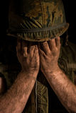 Сотрясенный раковиной морской пехотинец США - война США против Демократической Республики Вьетнам Стоковое фото RF