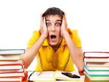 Сотрясенный студент с книги Стоковое фото RF