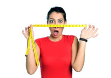 сотрястенная диетпитанием женщина времени стоковое фото