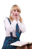 сотрястенная школьница экзаменов Стоковое фото RF
