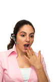 сотрястенный микрофон девушки удивил Стоковые Фото