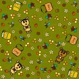 Сот, медведи и пчелы. Безшовная картина Стоковая Фотография