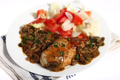 соус гриба еды цыпленка Стоковые Фотографии RF