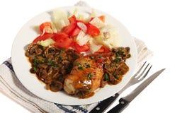 соус гриба еды цыпленка Стоковое Изображение