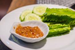 Соус затира креветки с овощем Стоковые Фото