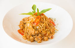 Соус и свинина спагетти стоковое фото rf
