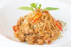 Соус и свинина спагетти стоковое изображение