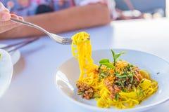 Соус и свинина спагетти Стоковое Изображение RF