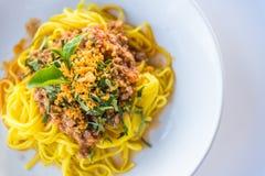 Соус и свинина спагетти Стоковая Фотография RF