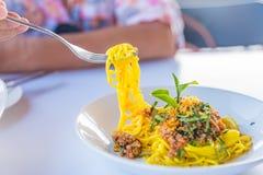 Соус и свинина спагетти Стоковое Фото
