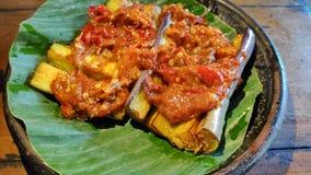 Соус chili баклажана на плите гончарни стоковые фото