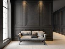 Софа в классическом черном интерьере 3D представляют насмешливое поднимающее вверх Стоковое Изображение RF