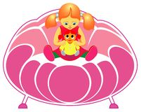 софа девушки куклы Стоковая Фотография RF