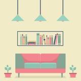 Софа и книжные полки плоского дизайна внутренняя винтажная Стоковая Фотография