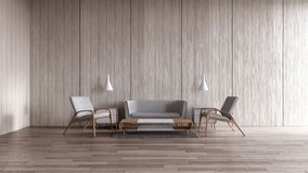 Софа лампы современного внутреннего пола живущей комнаты деревянного вися установила перевод лета 3d вида на море для рамки искус иллюстрация вектора