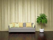 Софа около деревянной стены Стоковая Фотография RF