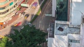 Софа timelapse дня Гонконга на дорогах города крыши сток-видео