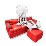 софа tv семьи 3d сидя watvhing Стоковая Фотография