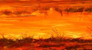 Сохранил реки во время захода солнца солнца, крася маслом на холсте иллюстрация вектора