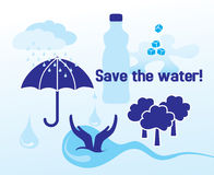 Сохраньте воду - концепцию иллюстрация вектора
